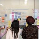 three women standing in front of a whiteboard covered in writing and colourful post-it notes