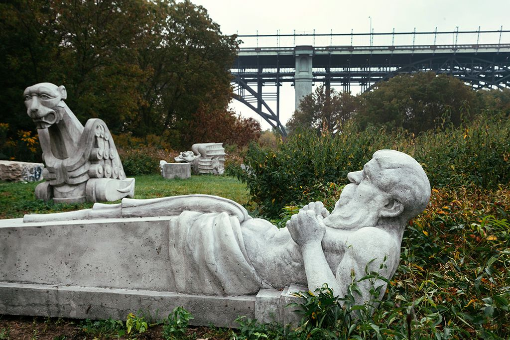 Three gargoyle statues that are available for viewing along the Don River Valley