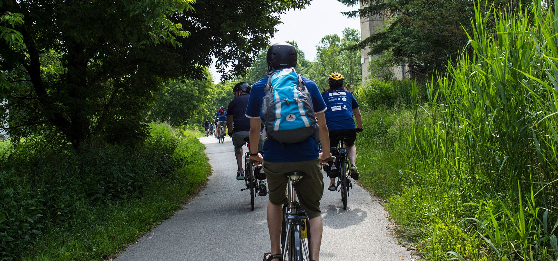 A group of people riding bikes on a path in the Don Valley. Image: Geoff Fitzgerald