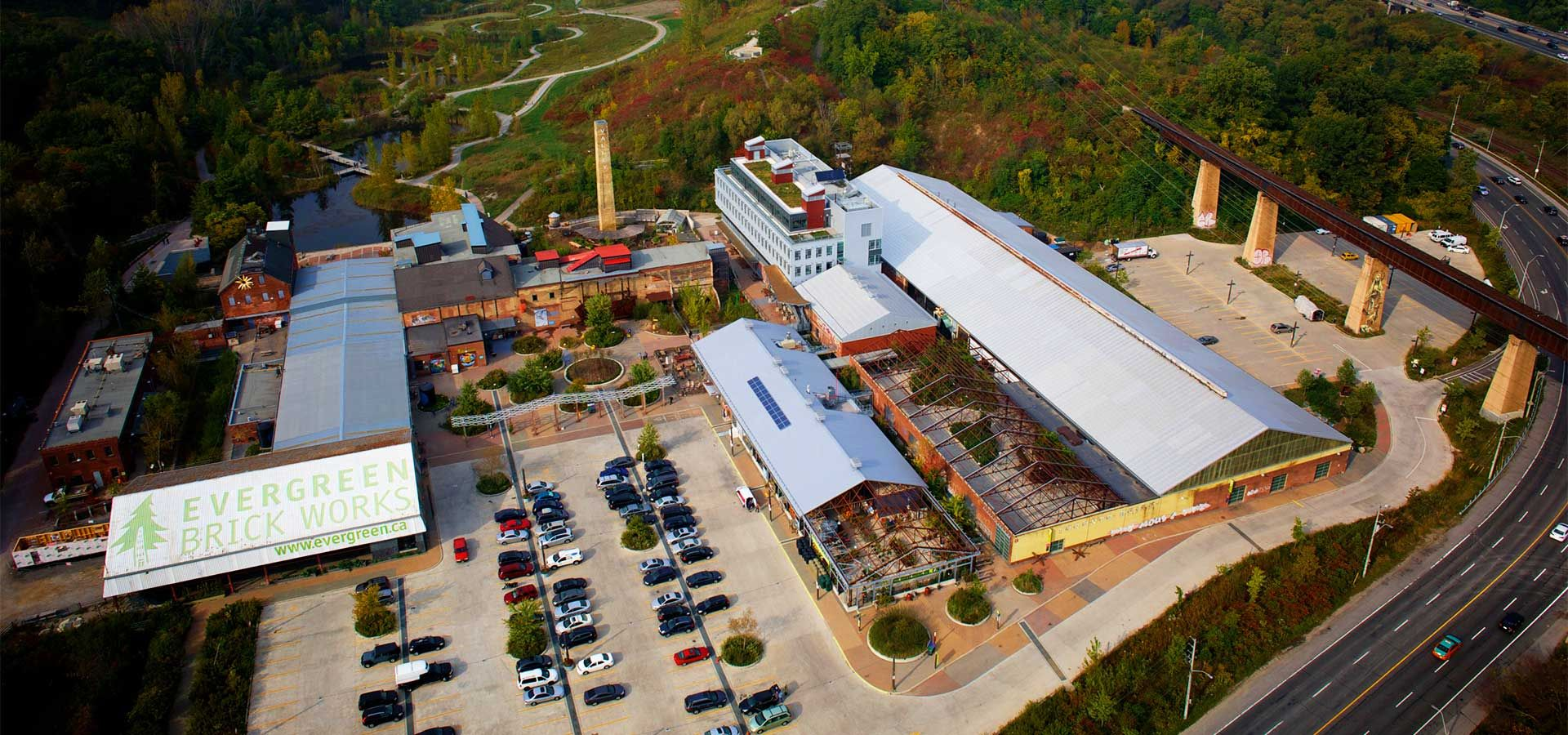 An aerial view of Evergreen Brick Works.